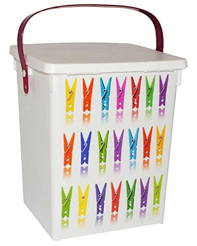 """"""" Wäscheklammer-Box """" - Vorratsdose / Aufbewahrungsbox - Wäscheklammern / Klammerbeutel - oder Waschpulver für Waschmaschine & Geschirrspüler - 5 l - aus Kunststoff / Klammerboxbehälter - Dose - Box & Kiste - Waschpulver Klammerboxdose - Badezimmer / Küche / Bad - Kiste mit Deckel - Pulver & Tabs"""
