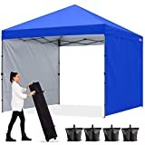 ABCCANOPY 3x3M Pavillon Outdoor Easy Pop-up-Überdachungszelt mit 2 Seitenwände,Blau