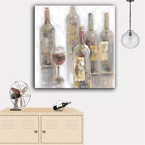 Domrx Arte de la Pared de la Lona Impresionismo Botella de Vino Tinto y Pintura de Arte del cáliz Impresión con decoración de la Pared de la Sala de Estar Decoración para el hogar-50x50cm Sin Marco