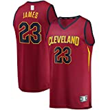 DENGPAO Maroon LeBron Camiseta de baloncesto de manga corta Cleveland Ropa Cavaliers Bordado #23 Fast Break Player Jersey Icon Edition-XL