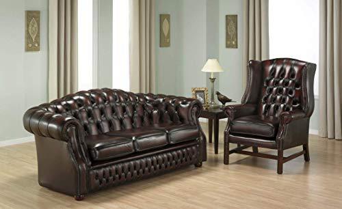 JVmoebel Chesterfield - Sofá de 3 plazas y sillón con orejas, de piel