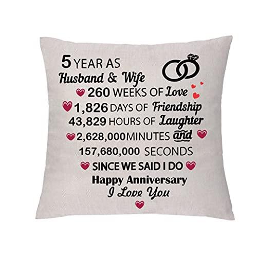 GHORIHUB Funda de cojín para esposo, esposa, boda, aniversario, regalo de día...