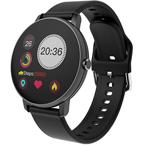 XXY Smartwatch Full Touch Frauen Herzfrequenz Blutdrucküberwachung Männer wasserdichte Sport Smart Watch Clock Watch Für Android Ios (Color : P8 Black)