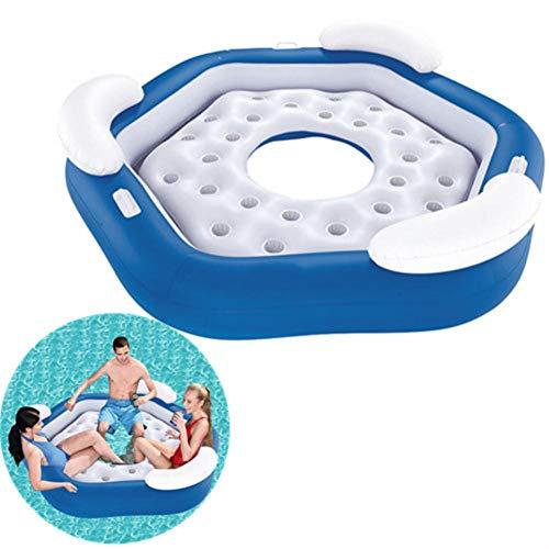 Hete-supply Pool aufblasbare Insel 3-Personen, Pool Liege Pool Float Sofa, Wasserspielzeug im Freien, aufblasbare Lounge Water Fun Swim Floats