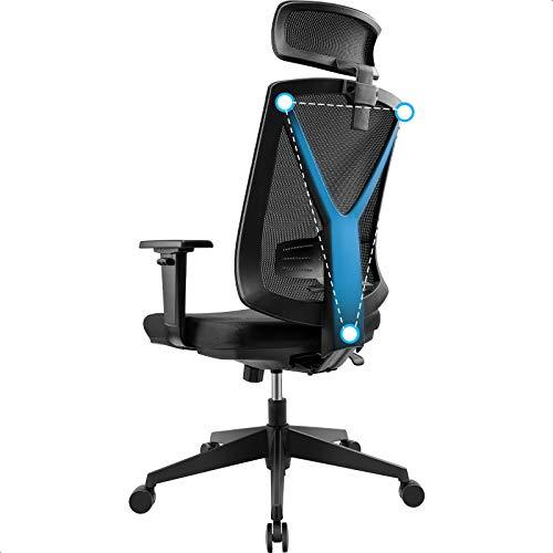 BASETBL Bürostuhl, ergonomisch, hohe Rückenlehne, schwarz, Netzstoff, Chefsessel, verstellbare Kopfstütze und Armlehnen mit Kippfunktion, Lendenwirbelstütze und PU-Rädern, Drehstuhl für Computer