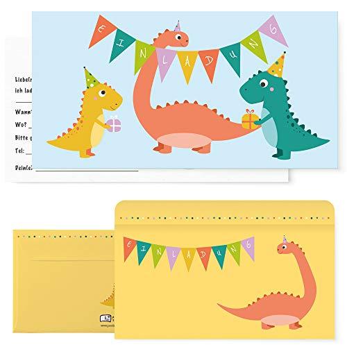 Postkartenschmiede 12 Dino Einladungskarten Geburtstag - Dinosaurier Kindergeburtstag Einladung - Einladungen Kinder Jungen Dinoparty-Set mit Dinos
