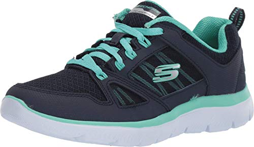 Skechers Women's Summits-New World Sneaker, Navy/Turquiose, 6.5 M US