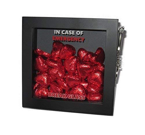 Im Notfall, Break Glass Geschenkbox mit zum Valentinstag. 3D-Geschenkboxrahmen, Lieblingsartikel: Lebensmittel, Süßigkeiten, Geld, Gutschein und Schmuck.