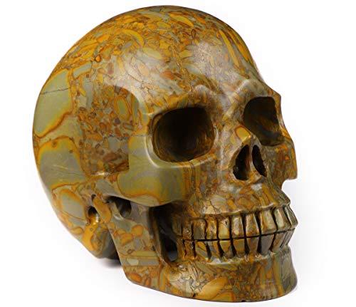 Skullis 5.0' Bamboo Stone Crystal Skull, Hand Carved Gemstone Fine Art Sculpture, Reiki Healing Stone Statue.
