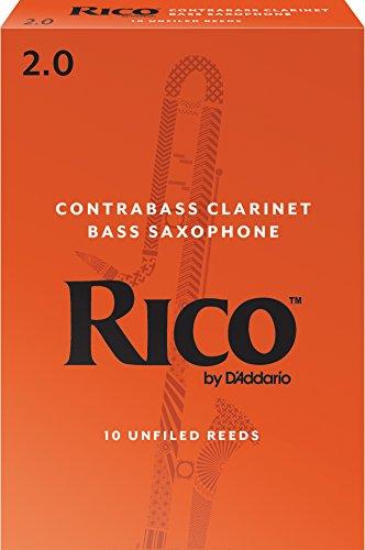 Cañas para clarinete contrabajo Rico, resistencia de 2.0, paquete de 10
