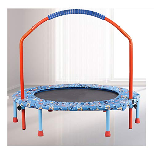 ZHENAI Kids Trampoline 38'', Foldable Mini Trampoline Adjustable Handrail Folding Bungee Rebounder Indoor/Outdoor,Orange