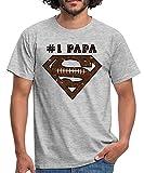 Spreadshirt DC Comics Superman Logo Papa Rugby T-Shirt Homme, 3XL, Gris chiné