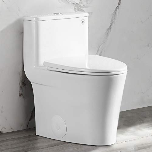 DeerValley DV-1F52807 Compact Elongated Modern One Piece Toilet With Soft Close Toilet Seat Ceramic Glossy White Toilets Single Flush for Small Bathroom Space