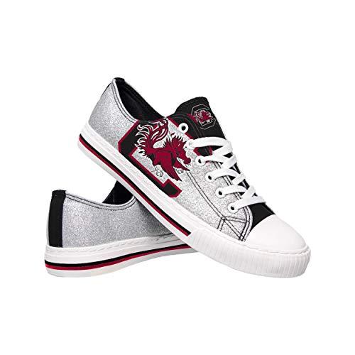 FOCO NCAA South Carolina Gamecocks Womens Glitter Low Top Canvas ShoesGlitter Low Top Canvas Shoes, Team Color, 9/XL