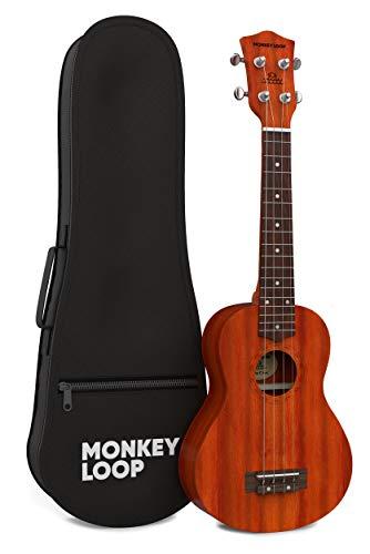 Monkey Loop - Serie Stone - Ukelele Concierto - Funda Incluida - Acabado Natural - Fabricado en Madera Sapeli - Cuerdas Aquila - Clavijeros Plateados y Cerrados - Materiales Resistentes - Alta Calidad