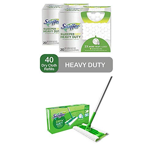 Swiffer Sweeper Heavy Duty Mop Pad Refills for Floor Mopping and Cleaning and Sweeper Dry + Wet All Purpose Floor Mopping and Cleaning Starter Kit