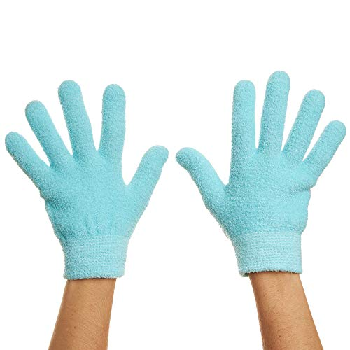 ZenToes Moisturizing Gel Sleeping Gloves Dry Hands Treatment - 1 Pair Unscented Hydrating Cracked Hand Healing Gloves - Repair Rough, Chapped Skin Overnight (Fuzzy Blue)