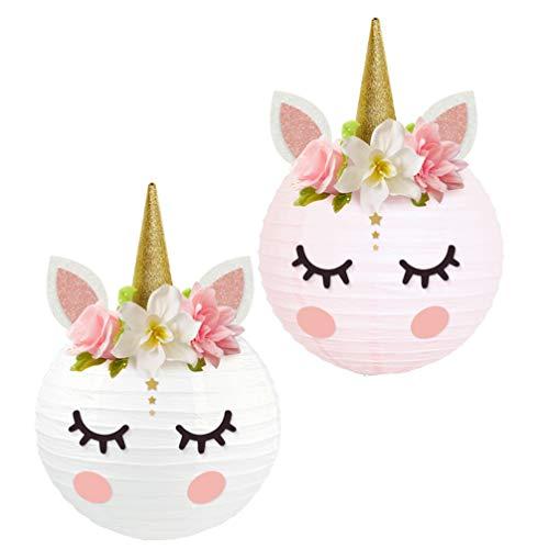 jojofuny 2 Piezas Linternas de Unicornio DIY Linterna de Papel Baby Shower Mesa Centro de Mesa Unicornio Decoraciones de Fiesta de Cumpleaños