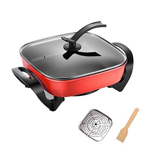 KoruPC Fondue Hot Pot elektrische grill, moderne medische stijl, 2-in-1-huishouden, Hot Pot Braden Gratis Rauch Fryer Ragoût Frituurstaaf Red + Steamed