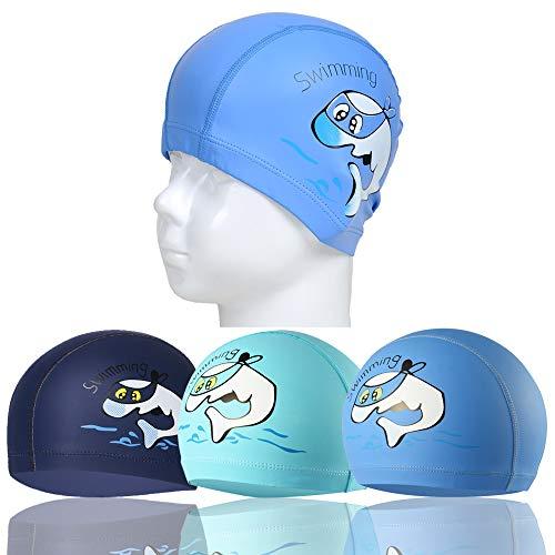 RETON Gorro de Natación Impermeable para Niños Gorro de Natación Transpirable para Niños con Patrón de Dibujos Animados de Revestimiento de PU (Azul Cielo + Azul Lago + Azul Marino)