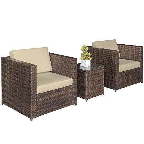 Outsunny Garden Rattan Furniture 3 pcs Patio Bistro Set Weave Conservatory Sofa Table Chair Set...