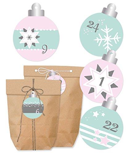 KuschelICH Adventskalender zum Befüllen Mint-Rosé - Tüten, Aufkleber & Dekoschnur - Weihnachtskalender - Papierbeutel in 2 Größen & Sticker mit Zahlen - Kordel in 2 Farben