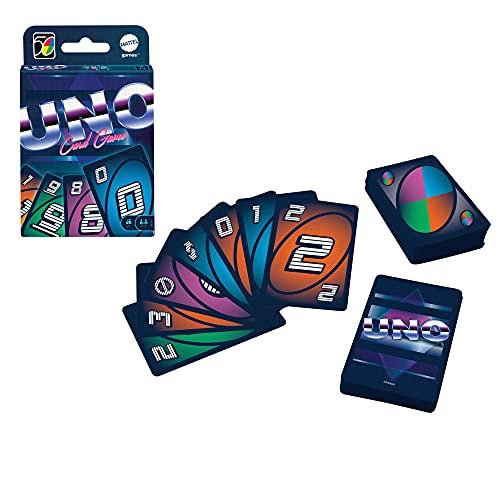 UNO Légendaire Années1980 aux illustrations emblématiques de cette époque, jeu de société et de cartes, 2 à 10joueurs, dès 7 ans, GXV45