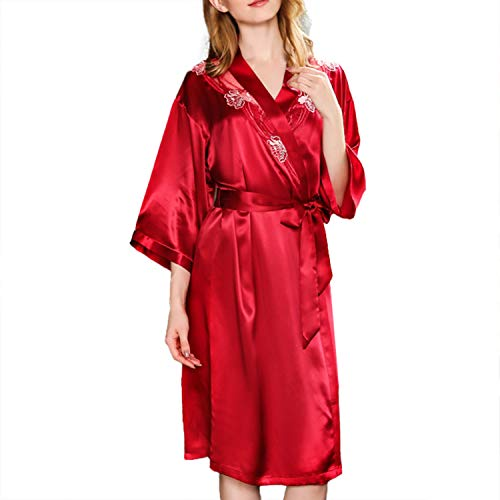 LZJDS Bata Kimono Mujer, 2 Piezas Seda Pijama Vestido Conjunto De Lencería Albornoz Vestido De Dama De Honor De Camisón,Rojo,XL