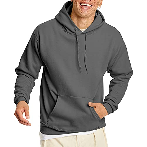Hanes Men's Pullover EcoSmart Hooded Sweatshirt, Smoke Grey, X-Large