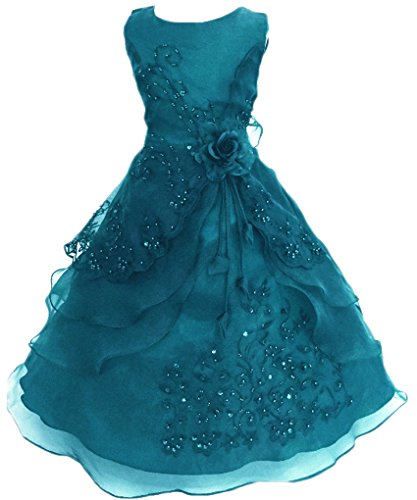 Shiny Toddler Little Girls Embroidered Beaded Flower Girl Birthday Party Dress with Petticoat 5t-6t(Tag 120),Teal