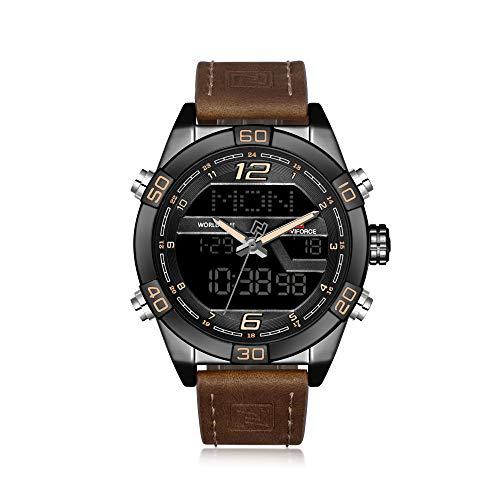 NAVIFORCE Reloj de pulsera para hombre, estilo militar, correa de piel, analógico, digital, cuarzo, con calendario, alarma, cronómetro, color marrón
