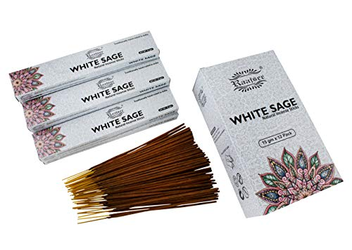 raajsee 15 GMS x 12 Pack White Sage Incense Sticks,100% Pure Organic Natural Hand Rolled Free from Chemicals - Perfect for Aromatherapy, Cleansing,Meditation and Church