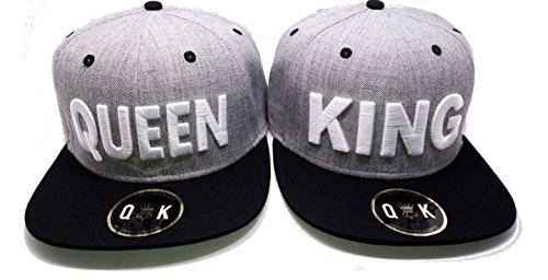 Matching Snapbacks/Baseball CAPS for Couples (King/Queen, Beauty/Beast) (King/Queen | Black/Grey)