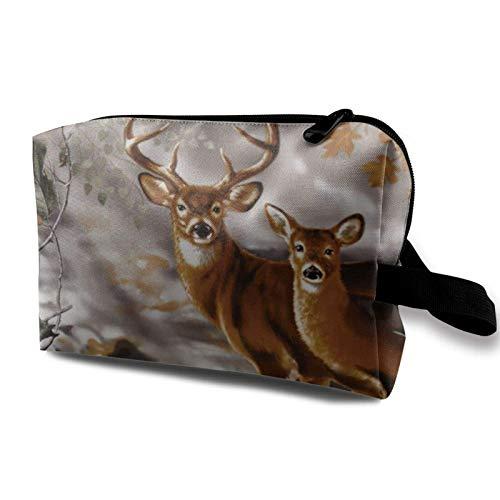 XCNGG Bolsas de maquillaje Bolsa de almacenamiento de artista de moda Bolsa de maquillaje pequeña y espaciosa con cremallera Ciervo de camuflaje de árbol real