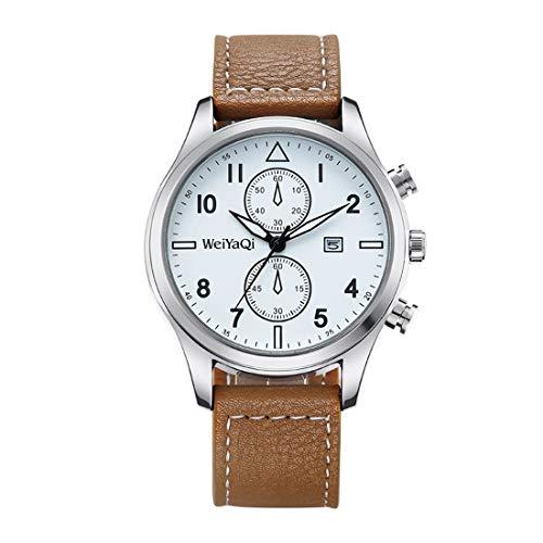 Zhouzl Outdoor Sports Accessories Reloj de Pulsera con Movimiento de Cuarzo WeiYaQi 89018 con Banda de Cuero (marrón) Outdoor Sports Accessories (Color : Brown)