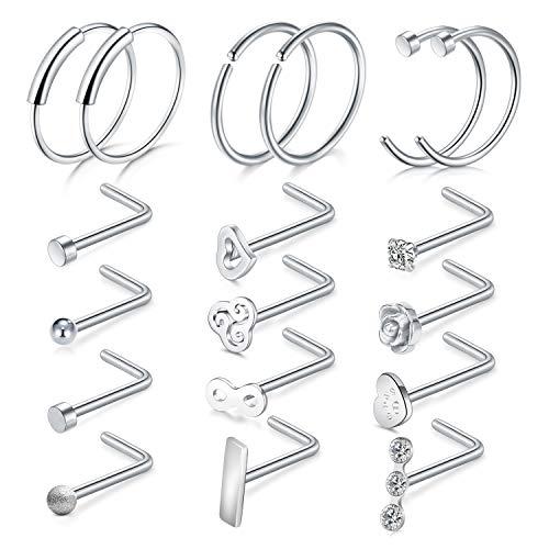 20G Chirurgenstahl Silber Nasenpiercing Nasenstecker Klar CZ C-Form L-Form Nasenring Piercing Schmuck 18 Stück