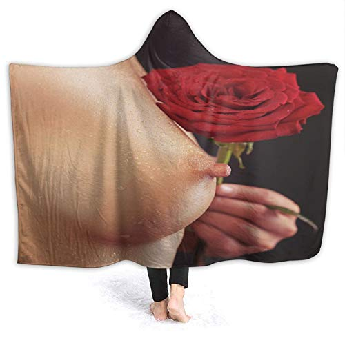 MIGAGA Hoodie Blanket Warm Flannel,Beautiful Woman Breast and A Red Rose,Soft Wearable Throw Blankets 80'×60'