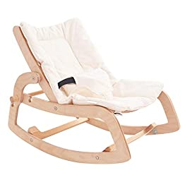 Crisschirs 3-in-1 Baby Bouncer Rocker Chair and Convertible Wooden Recliner for Toddler- with Removable Cushion, Seat Belt and Booster002