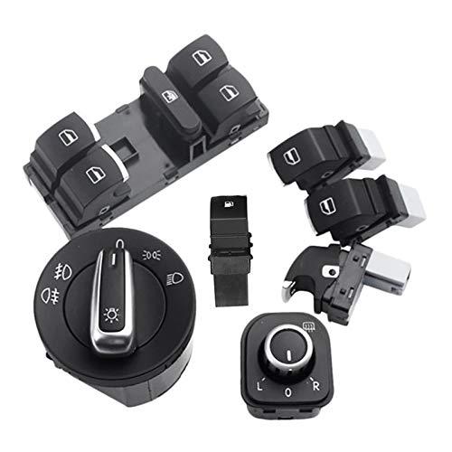 Story Conjunto de interruptores de Gas de Combustible de Faro de la Ventana 7pc Fit para Golf MK 5 6 Fit para Jetta Passat Tiguan (Color Name : Black)