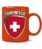 Golebros Schweiz Switzerland Fan Artikel 4701 Fuss Ball Welt Europa Meisterschaft EM 2020 WM 2022 Kaffee Tasse Becher Geschenk Ideen Fahne Flagge Team Rot