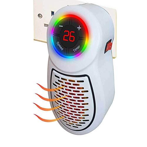 SJTL Mini Calefactor cerámico 500W y Enchufe, Mini Calentador - Temporizador de 1 a 12 Horas - Termostato de 15 a 45 Grados, para Conexiones Verticales y horizontales, Portátil, Potente,Blanco