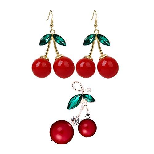 Bonarty Moda Cherry Rhinestone Drop Dangles Ear Studs Pendientes Cherry Pin Broche Elegante Rojo con Hojas Verdes de Diamantes de Imitación