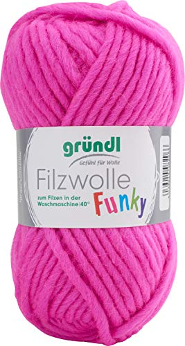 Gründl Filzwolle Funky, 50 g Neon-Pink