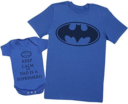 Keep Calm My Dad is A Hero - Passende Vater Baby Geschenkset - Herren T-Shirt & Baby Strampler/Baby Body - S & 0-3 Monate