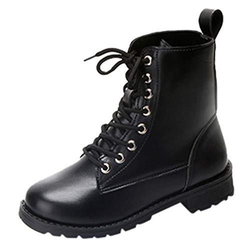 Dicke Frauen Stiefel Damen Kappe Schuhe Mitte Lexupe Fashion Schnürstiefeletten Solid Lace Up Runde Leder On80PwkX