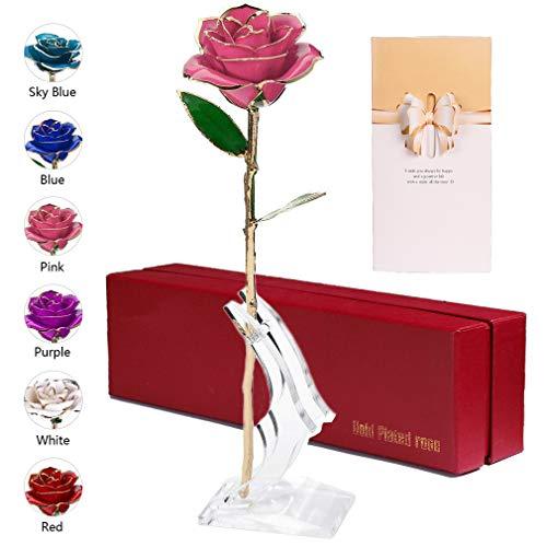 Anaoo Rosa 24K, Rosa Eterna Flores Chapadas en Oro con Caja de Regalo para el Día de San Valentín Día de la Madre, Aniversario, Cumpleaños, Color Rosa