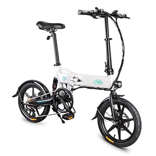 FIIDO D2S - Bicicleta eléctrica de exterior plegable de 16 pulgadas, herramienta para bicicleta con cambio eléctrico, plegable, recargable, velocidad máxima de 25 km/h, color blanco