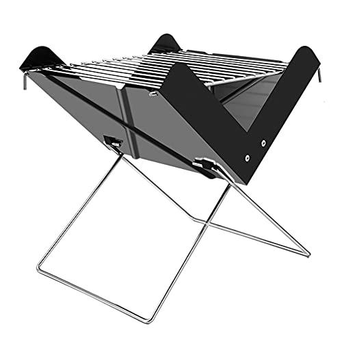 Moligin - Parrilla de carbón portátil para barbacoa al aire libre plegable para 3 personas, pequeña barbacoa con asa para pícnics, fiestas en la playa, camping, etc