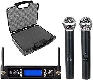 Micrófono inalámbrico dual profesional Karaoke UHF audio dual micrófono vocal de mano