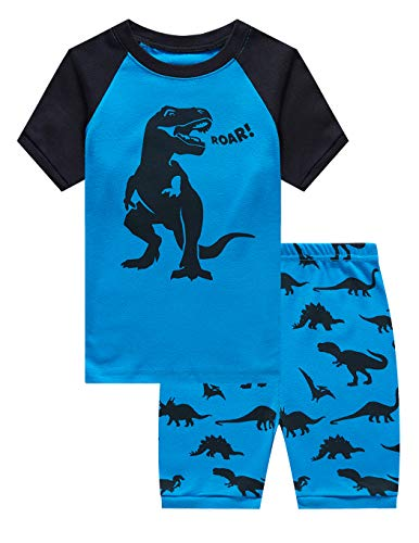 Family Feeling Big Boys Dinosaur Pajamas Short Sets 100% Cotton Kid Summer Pjs 10
